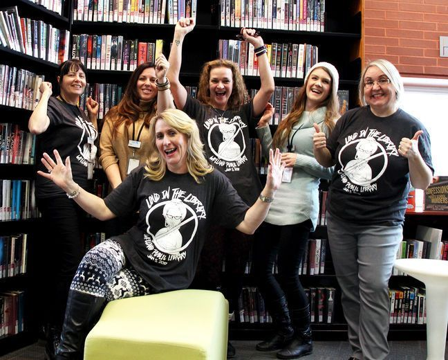Staff at the Welland Public Library are asking kids to throw away the notion of being quiet in the library and come out for a day of music and fun. Back, from left: Loraine Speck, Marla Bestward, Annie Ferguson, Amy Brulé and Anna Murtaugh. Front: Belinda McCauley. Laura Barton/Welland Tribune/Postmedia Network