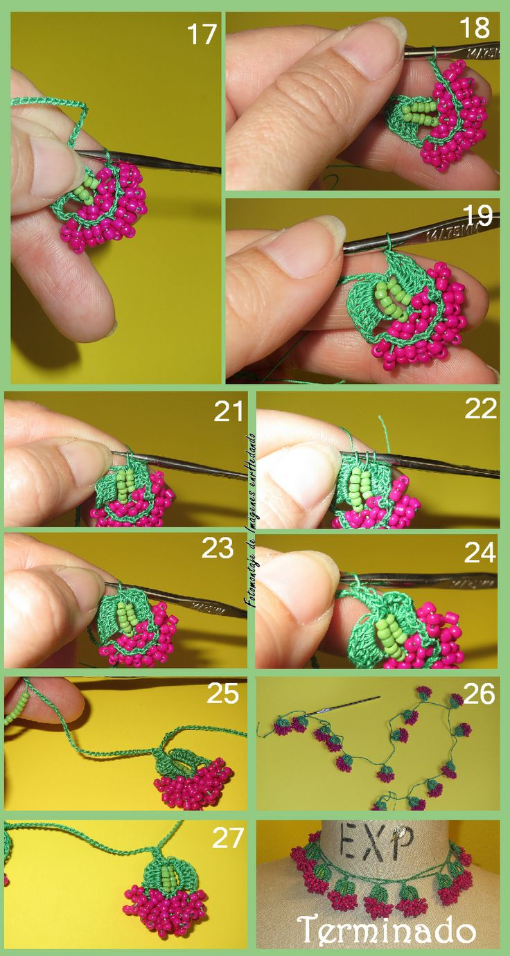 Bead crochet oya part 2