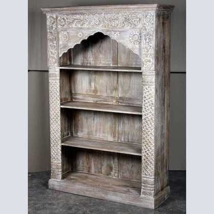 White carved edged large bookcase with three shelves. Our range includes reclaimed wood bookcases, cabinets, and hallway furniture to buy in UK