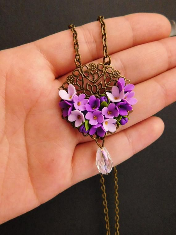 Filigree Lilac Necklace Purple Floral Jewelry Gift For Her Etsy Polymer Clay Jewelry Floral Jewellery Botanical Jewelry
