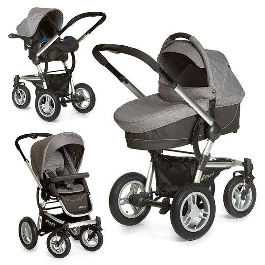 Kombi-Kinderwagen mit satter Ausstattung und Luftreifen sowie passender Babyschale für das Auto.