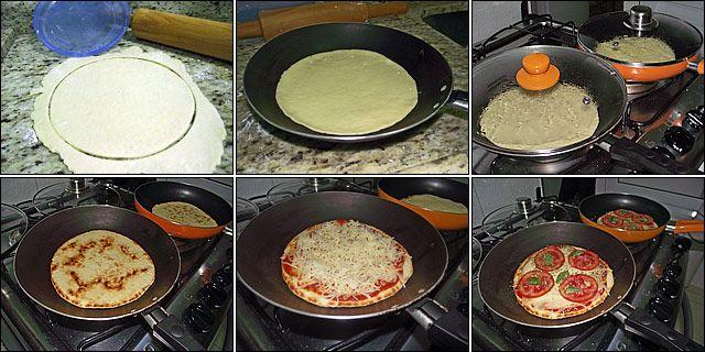 Misture o ovo, a manteiga, o sal e o fermento. Junte a farinha aos poucos até virar uma bola.Abra bem fininha com o rolo de macarrão e corte discos. Coloque a massa em uma frigideira antiaderente e mantenha tampada em fogo baixo até dourar a parte de baixo (uns 5 minutos). Tire do fogo, vire a massa, coloque a cobertura da sua preferência e volte para o fogo (tampada) para derreter o queijo e dourar a outra parte da massa.