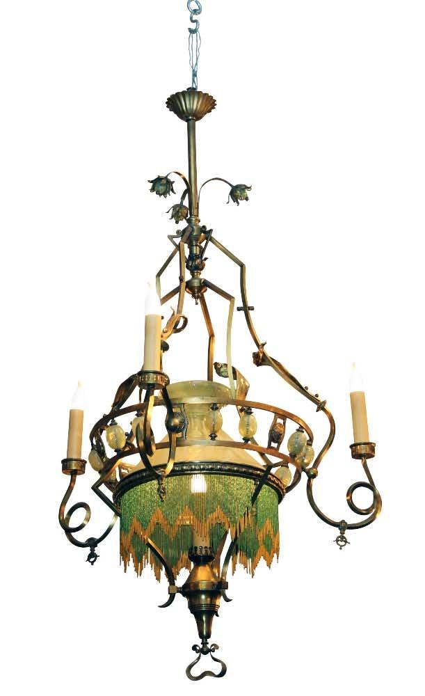 Large 19th Century Art Nouveau Oil Or Gas Converted Chandelier