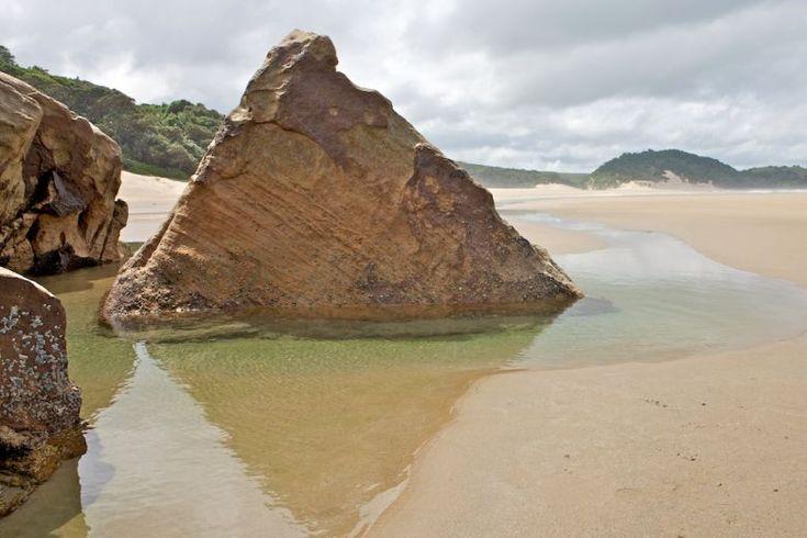 Rock formations on the beach, Mkambathi Nature Reserve, Transkei Wild Coast, Eastern Cape.