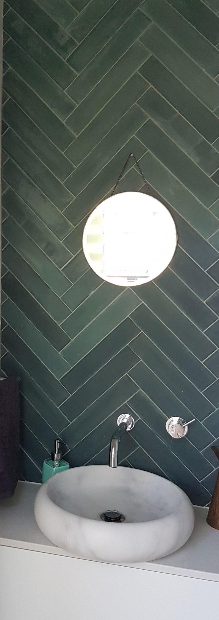 Cyprus baguette laid herringbone ...perfect powder room wall in our clients beach house #cementtiles #encaustictiles #popham #pophamtilesaustralia #cementtilesbyronbay #herringbone #encaustictilesbrisbane