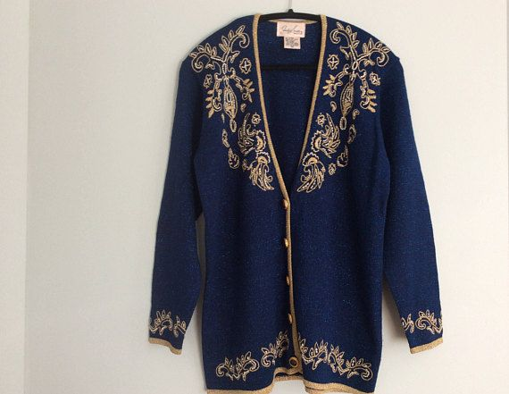 Vintage 80s Gold and Pearls Embroidered Blue Lurex Sweater