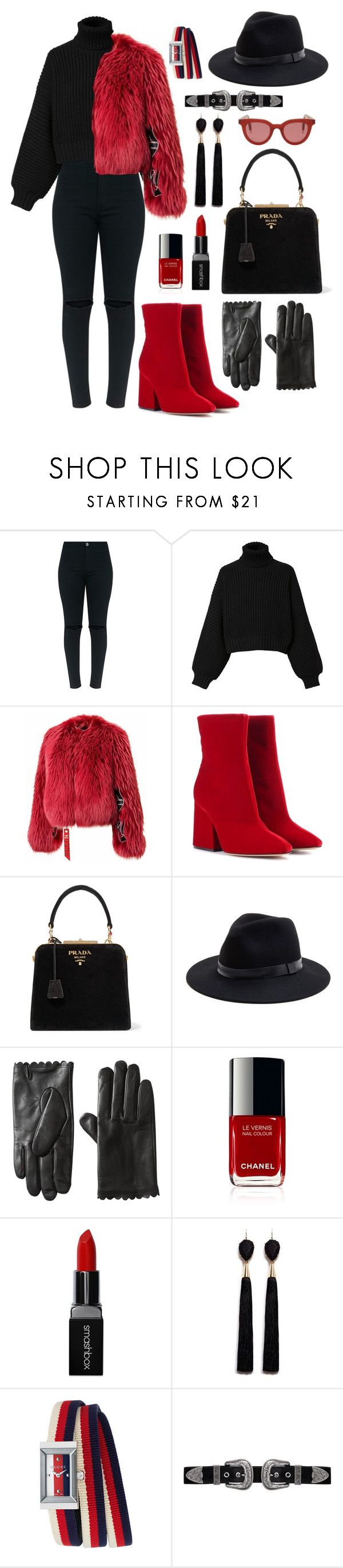 """Red"" by annarita-fanelli ❤ liked on Polyvore featuring Diesel, Maison Margiela, Prada, Sole Society, Smashbox, Mignonne Gavigan, Gucci, B-Low the Belt and Gentle Monster"