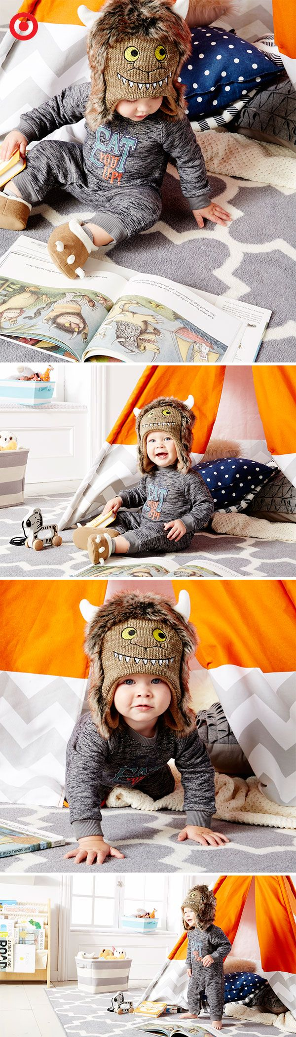 """Go wild for """"Where the Wild Things Are""""! Your babe will look so sweet you'll want to eat him up! The adorable apparel includes a furry monster hat, monster-feet slippers, jumpsuit and mix-and-match separates. Perfect for a little king in the making!"""
