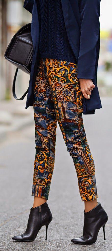 Orange Multi Mix Prints Ankle Trousers.