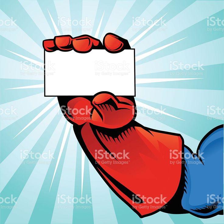 Superhéroe Mano agarrando tarjeta de fondo-azul royalty-free stock vector art