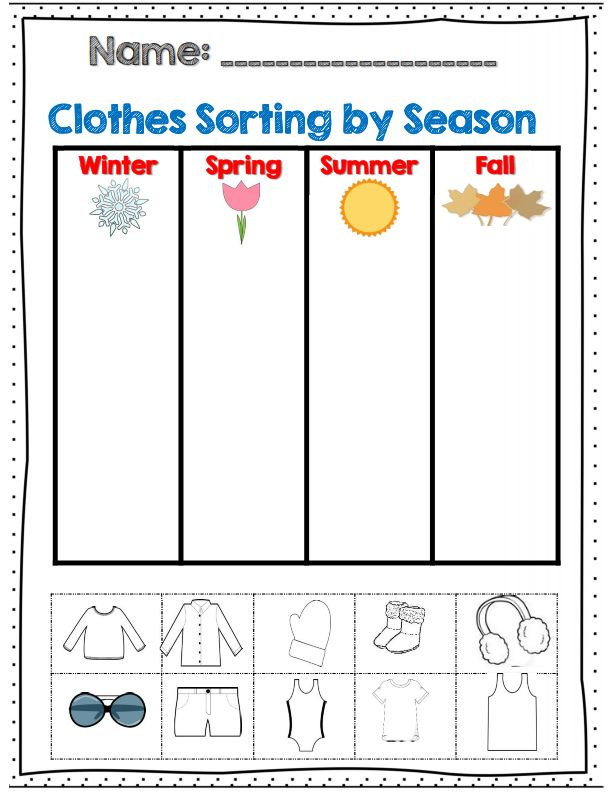 "For my ""Dress for the Weather"" Unit--clothes sorting by season for k-2 part of 60 page weather and seasons unit!"
