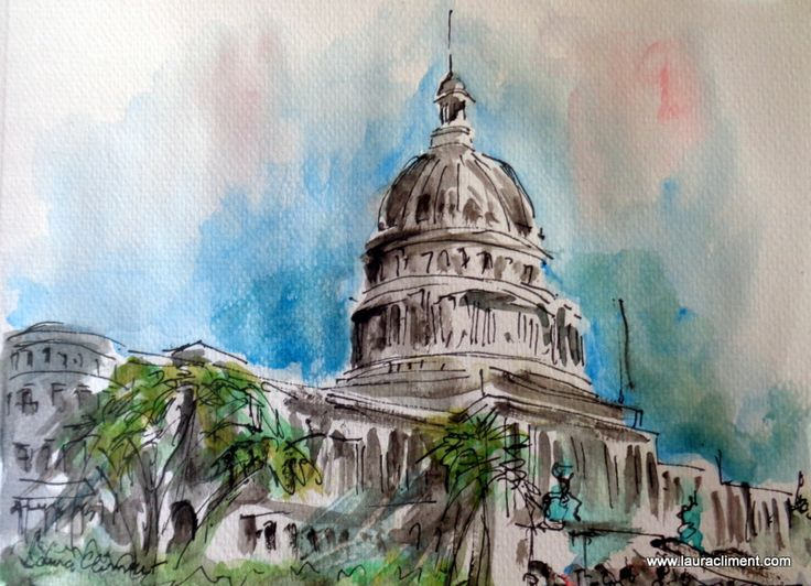 Cuba. La Habana Parliament.  Watercolor