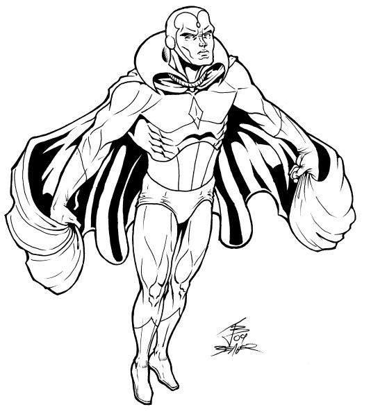 laveur de vitre super heroes coloring pages | Marvel Avenger Vision Coloring Pages | Superhero coloring ...