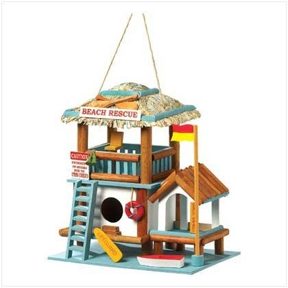 Lifeguard Station Birdhouse - even birds need to go to the beach?  crazy... but fun!: Birds Houses, Birdhouses Crafts, Cute As A Buttons Birdhouses, Stations Birdhouses, Rescue Birdhouses, Nautical Theme, Beaches Rescue, Lifeguard Birdhouses, Lifeguard Stations