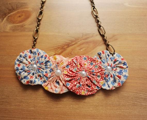 YoYo Fabric Flower Necklace // Pearls // by WunderkammerCulture, $16.00