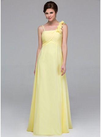 Empire-tyylinen Lattiaa hipova pituus Sifonki Morsiusneitojen mekko jossa Rypytys Kukka(t)