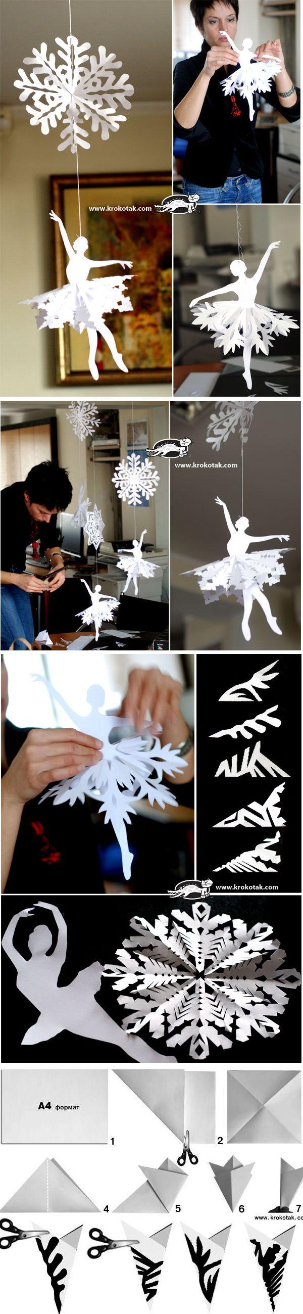 как сделать балерину из бумаги