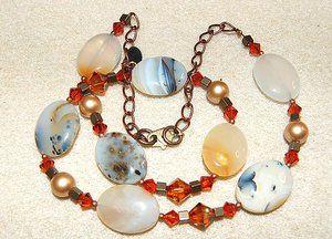 Halssmycke med Agater och Swarovski pärlor