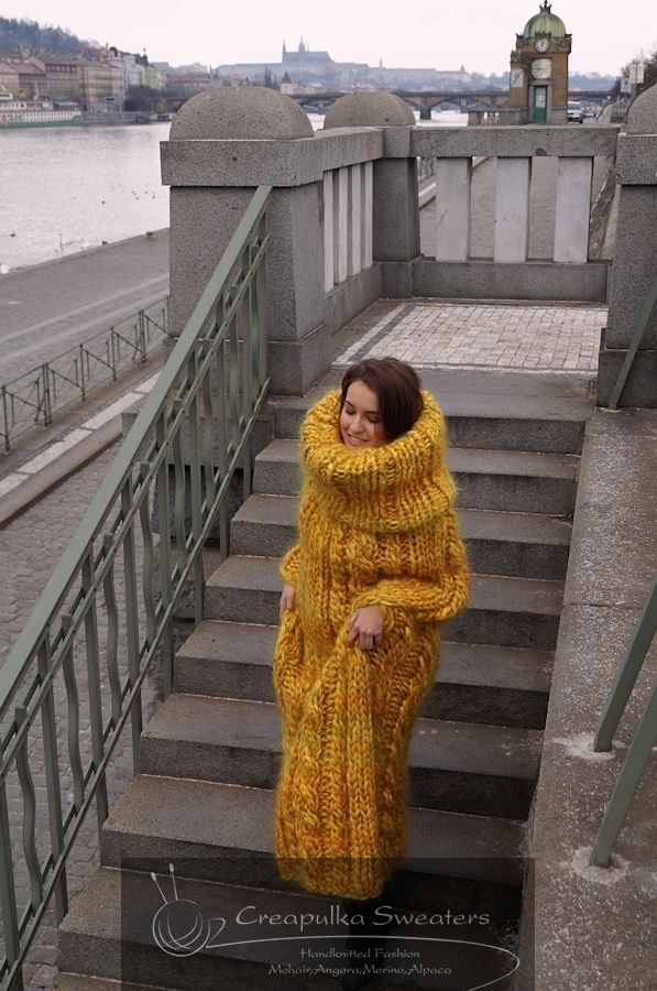 Chunky mohair sweater dress - oh yeah that's exacyly what I would knit with $500.00 worth of mohair... I don't think so....