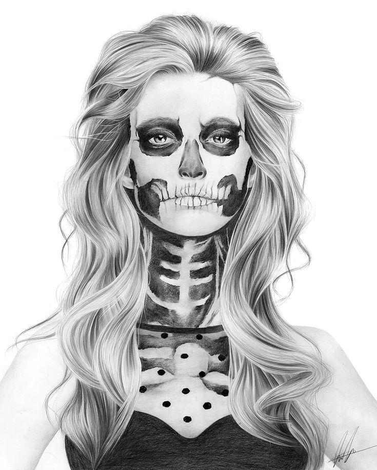 skull girl,l aura eddy pencil illustrations