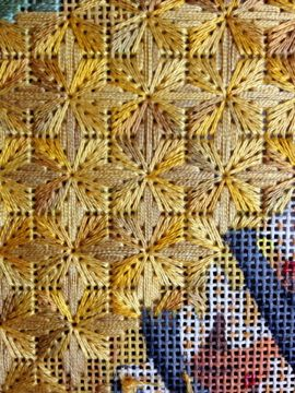 Needlepoint :: Who says needlepoint has to be only single diagonal stitches. What a cool idea to fill areas in with a repeating pattern. From blog Steph's Stitching
