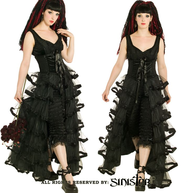 Black tulle gothic layered corset skirt by Sinister (475) www.sinister.nl