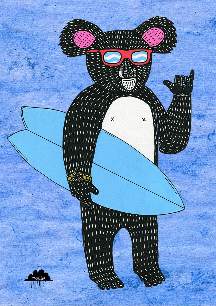 Rod the Rad Koala illustration by Sydney-based artist 'Mulga the Artist'