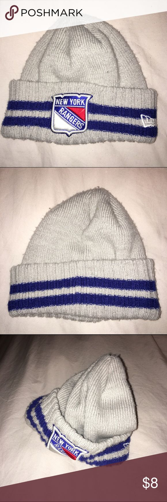 New York Rangers sports stocking cap hat Awesome stocking cap for the sports fan. Grey with navy blue stripes and a great New York Rangers patch. rangers Accessories Hats