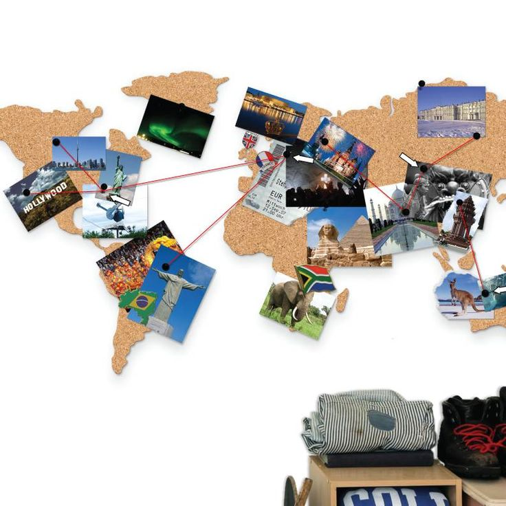 World Map Cork Pinboard Bundle