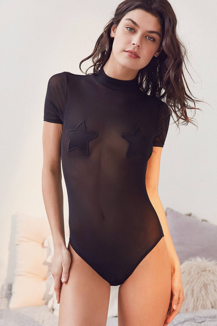 Slide View: 1: Out From Under Milo Mesh Mock Neck Bodysuit
