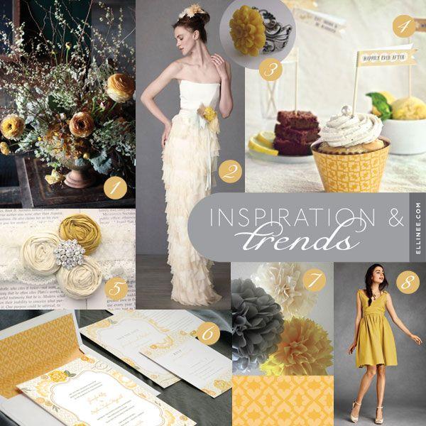 grey & yellow wedding