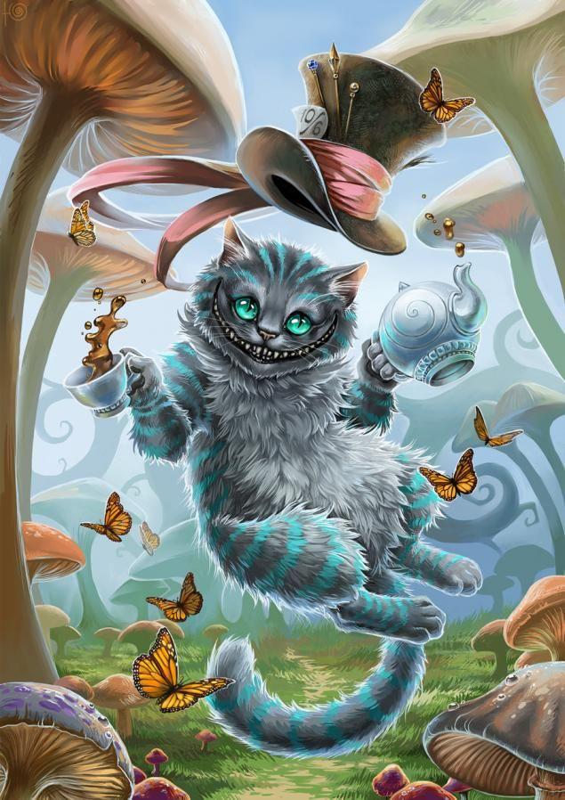 Для, открытка чеширский кот