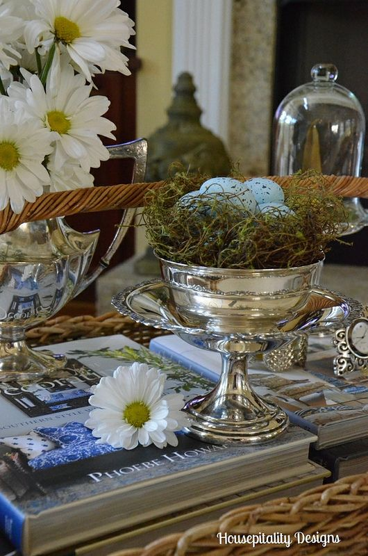 A coffee table vignette hippity hopping into spring for Decor vignette