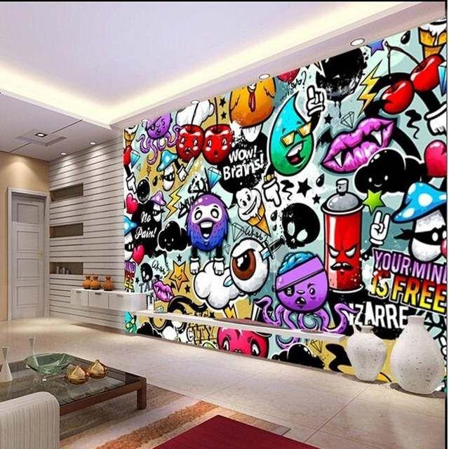 beibehang papel de parede wall paper Custom baby colorful graffiti murals for children's rooms living room backdrop 3D wallpaper