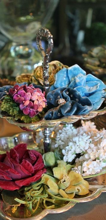 Vintage velvet millinery flowers...love this and wish I had some for my hats!