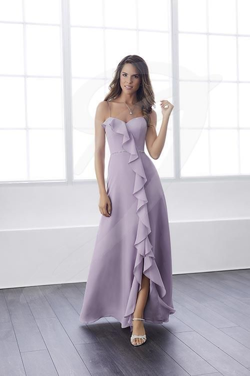 Balletts Bridal - 25562 - Bridesmaids by Jacquelin Bridals Canada - An empire waist chiffon dress with a sensational ruffle trail that ranges from the sweetheart neckline to the hem. Introduces a pretty and thin beaded waist, a low slit trimmed with ruffle chiffon, and a zipper back.