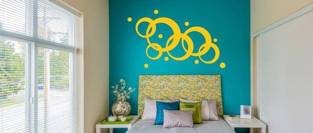 Kroužky a bublinky (1059) / Samolepky na zeď, stěnu a nábytek