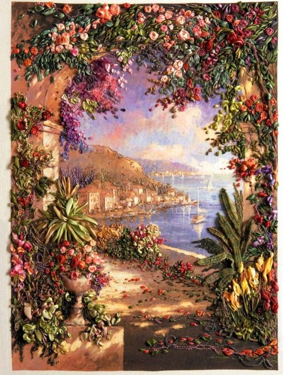Floral Vista ~ Stumpwork embroidery by Di van Niekerk