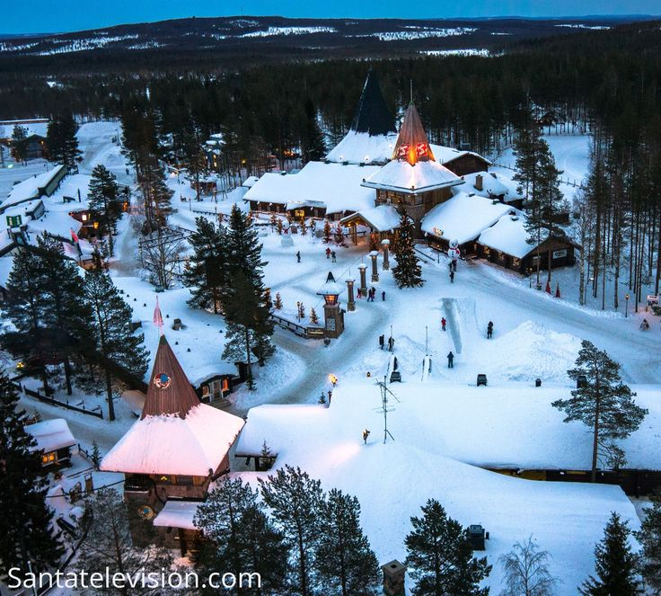 Santa Claus Village in Rovaniemi in Lapland by air
