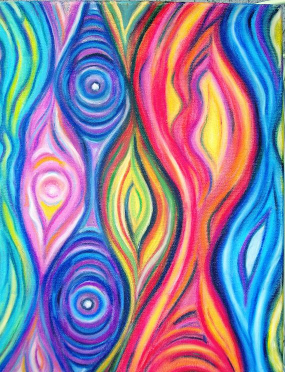 Abstract Art Original Oil Pastel Abstract Art by NonisEclecticShop, $55.00