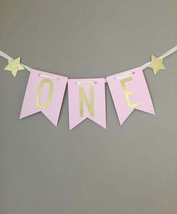 Eerste verjaardag kinderstoel Banner, een kinderstoel Banner, eerste verjaardagsdecoratie, roze en goud Party Decorations, Twinkle Twinkle Little Star