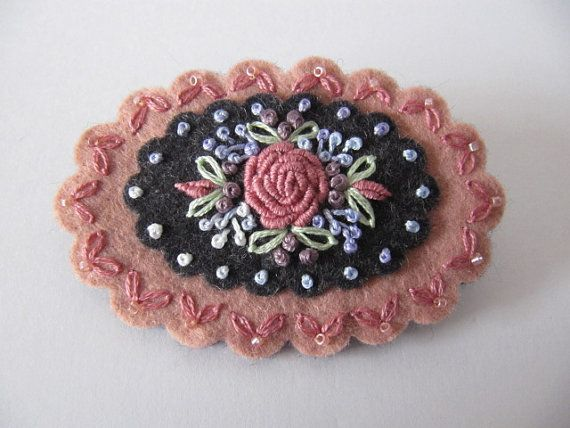 Wool Felt Hand Embroidered Brooch by mariadownunder on Etsy