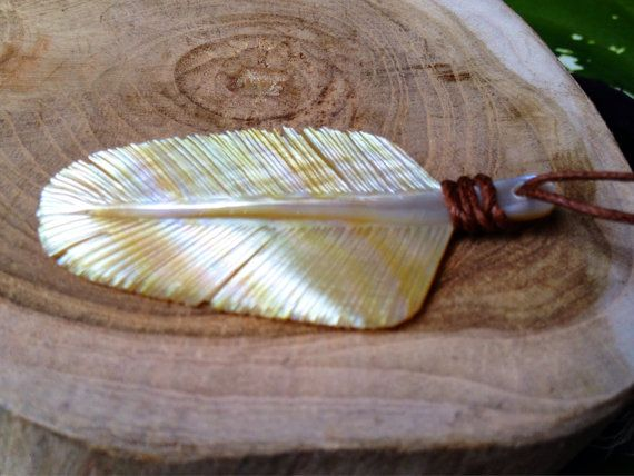 Golden Pearl Eagle Down Feather Pendant Necklace by Feathertribeme