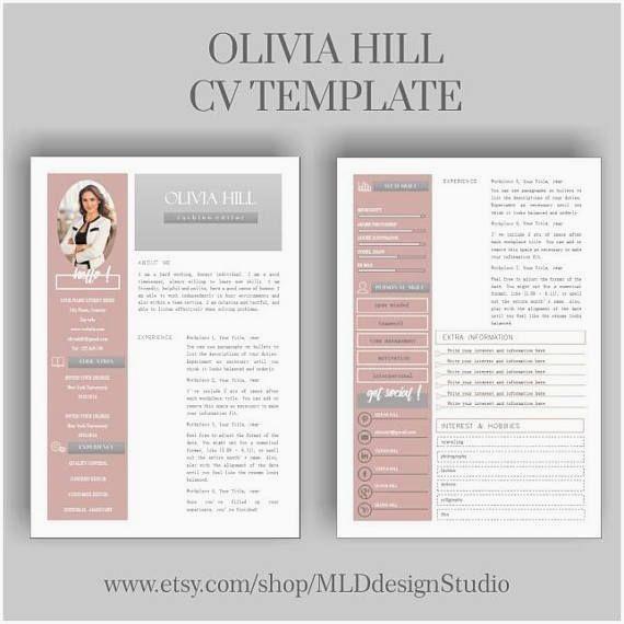 Resume Template 2 Page Cv Template Cover Letter For Ms Word Instant Digital Download Olivia Modele Cv Gratuit Cv Gratuit Modele Cv