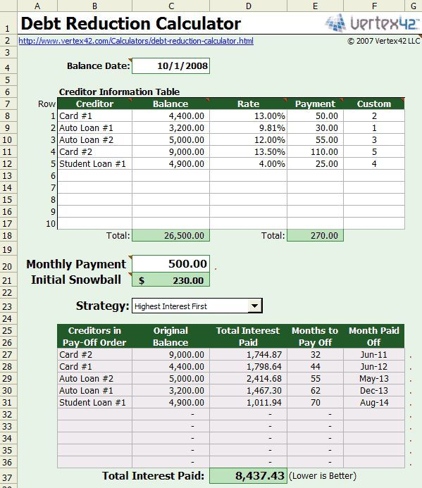 best free debt snowball calculator program excel Home Remedies