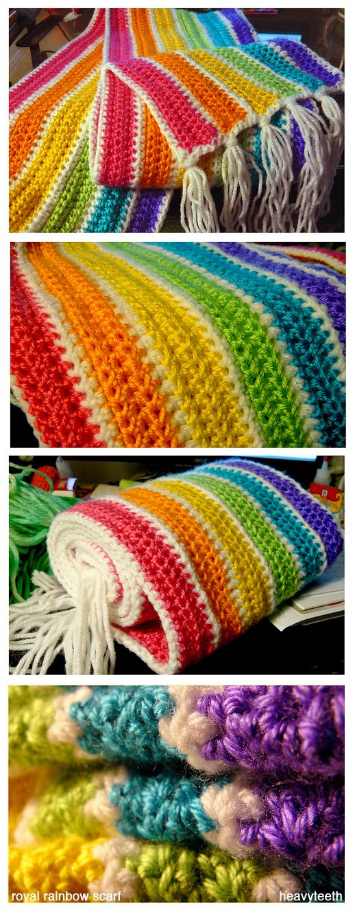 crochet royal rainbow scarf by ~heavyteeth. LOOVE!!  I think this is so pretty and something that could be worked on little by little
