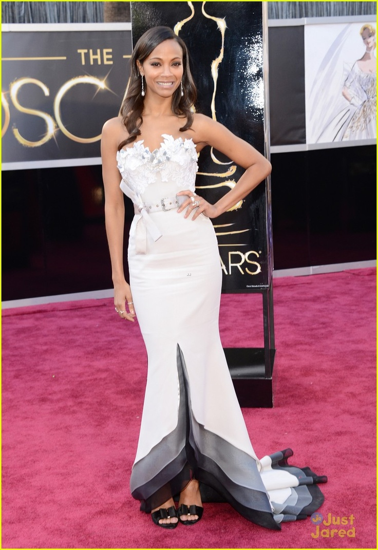 Emmy fashion 2014 best red carpet dresses blogher - Zoe Saldana Oscars 2013 Red Carpet In An Alexis Mabille Couture Dress Neil Lane Jewelry Roger Vivier Shoes And A Salvatore Ferragamo Clutch