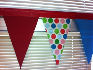No sew bunting with fabric and duct tape