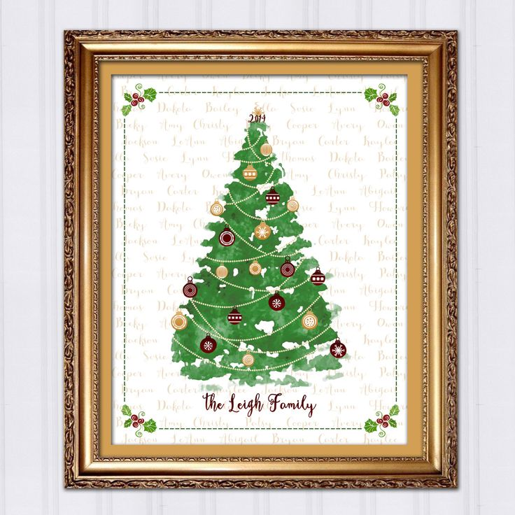 Personalized Christmas Tree, Christmas Gift for Mom, Gift for Grandma, Custom Art Print, Watercolor Christmas Tree, Black Friday Sale by InvitingMoments on Etsy https://www.etsy.com/listing/212495628/personalized-christmas-tree-christmas