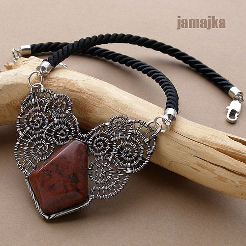 Necklace | Jamajka Designs.  Jasper, silver plated wire and think braid cord.
